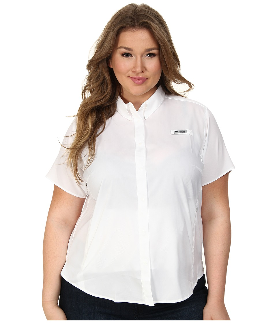Columbia - Plus Size Tamiami II S/S Shirt (White) Women's Short Sleeve Button Up
