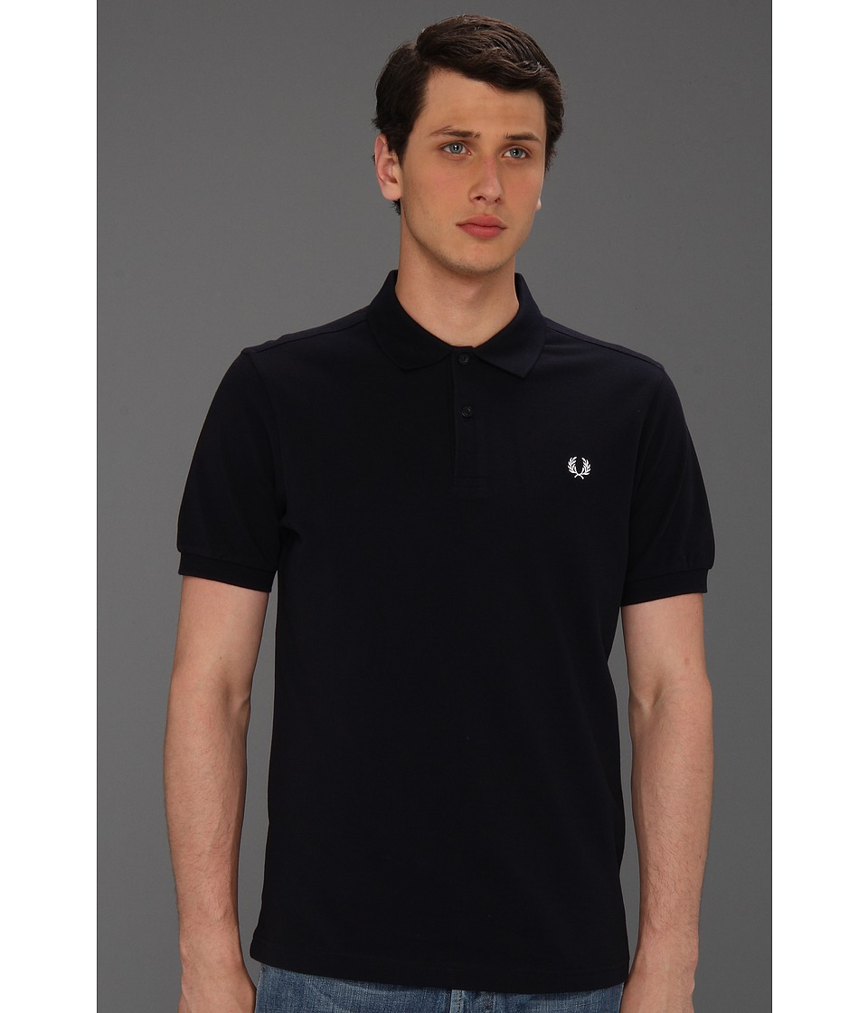 Fred Perry - Slim Fit Solid Plain Polo (Dark Navy) Men's Short Sleeve Pullover
