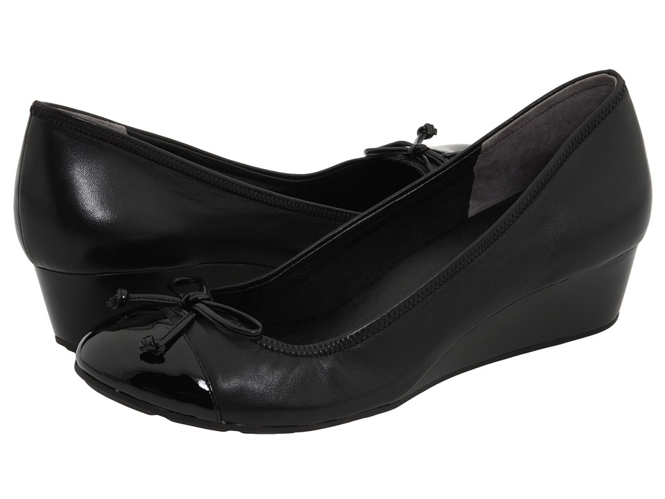 Cole Haan - Tali Lace Wedge (Black/Black Patent) Women's Wedge Shoes