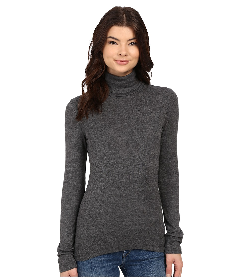 Splendid - 1x1 Long Sleeve Turtleneck (Charcoal) Women's Long Sleeve Pullover