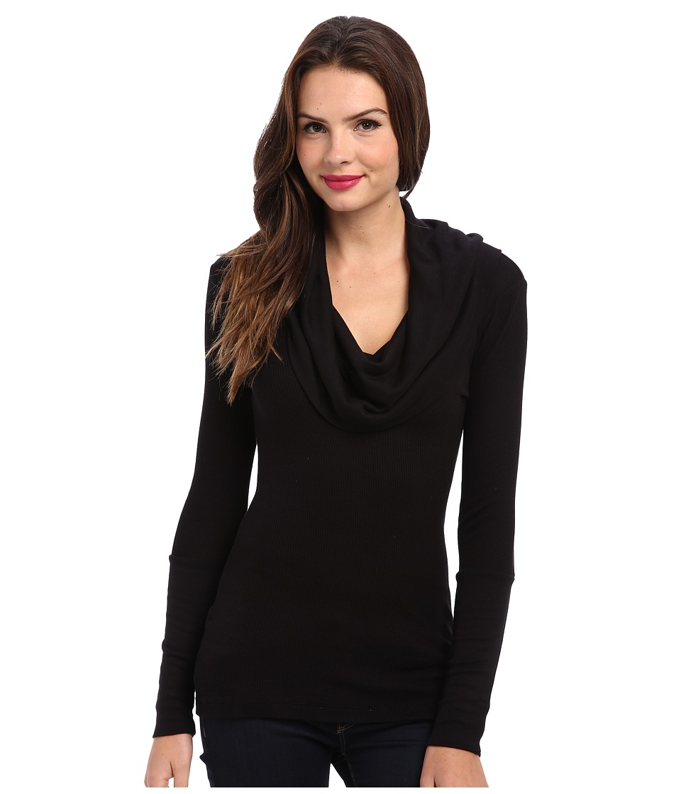 Splendid - Thermal L/S Cowl Neck Tunic (Black) Women's Long Sleeve Pullover
