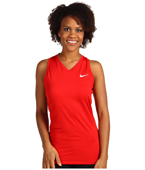 Nike - Pro Fitted Training Tank Top (Sport Red/White) Women's Sleeveless