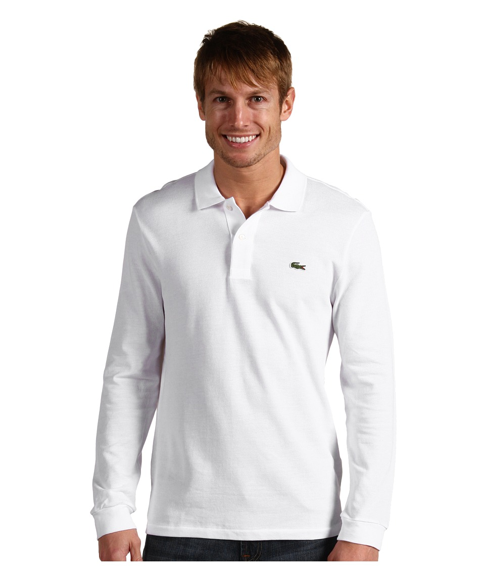 Lacoste - L/S Classic Pique Polo (White) Men's Long Sleeve Pullover