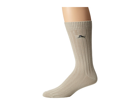 Tommy Bahama - Modal Rib Socks (Stone) Men's Crew Cut Socks Shoes