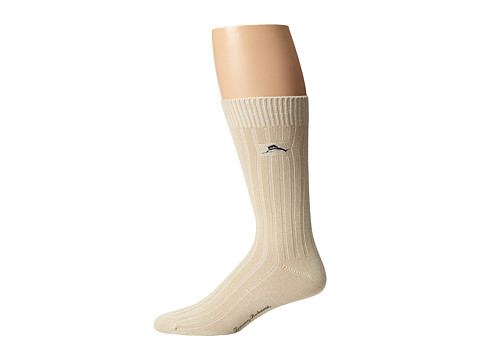 Tommy Bahama - Modal Rib Socks (Cream) Men's Crew Cut Socks Shoes