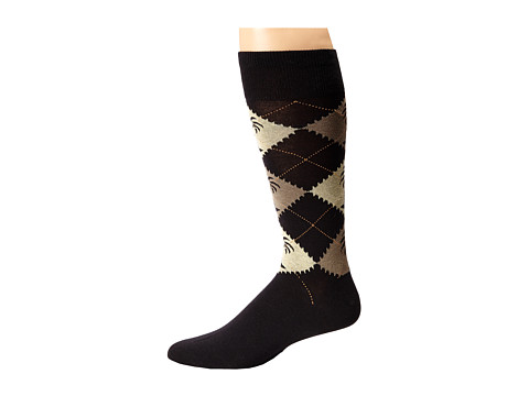 Tommy Bahama - Mock Argyle Socks (Black) Men's Crew Cut Socks Shoes