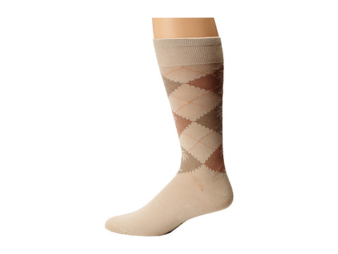 Tommy Bahama - Mock Argyle Socks (Stone) Men's Crew Cut Socks Shoes