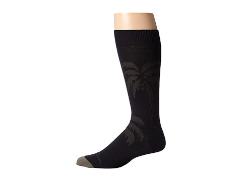 Tommy Bahama - Spiral Palm Tree Socks (Black) Men's Crew Cut Socks Shoes