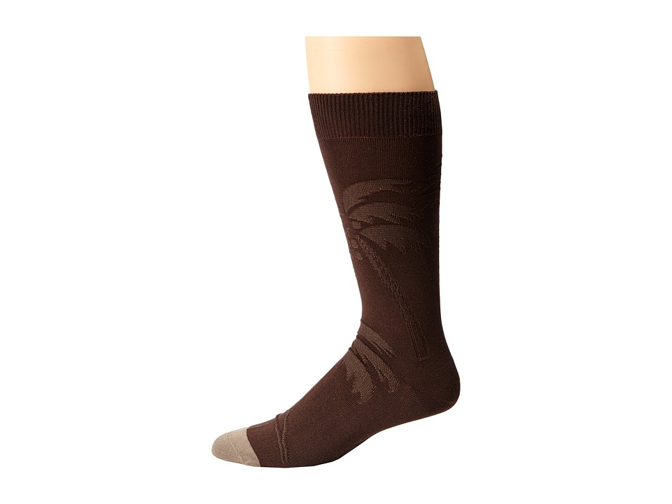 Tommy Bahama - Spiral Palm Tree Socks (Brown) Men's Crew Cut Socks Shoes
