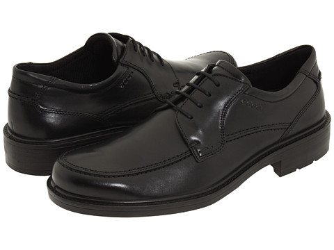 ECCO - Boston Apron Tie (Black Full-Grain Leather) Men's Lace Up Moc Toe Shoes