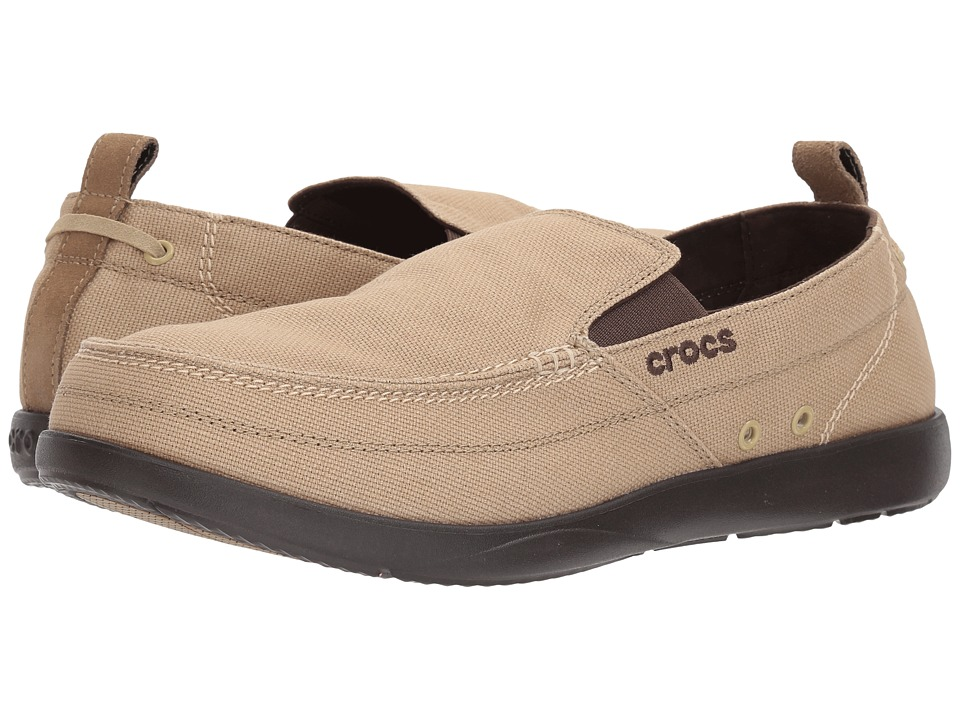 Crocs - Walu (Khaki/Espresso) Men's Slip on Shoes