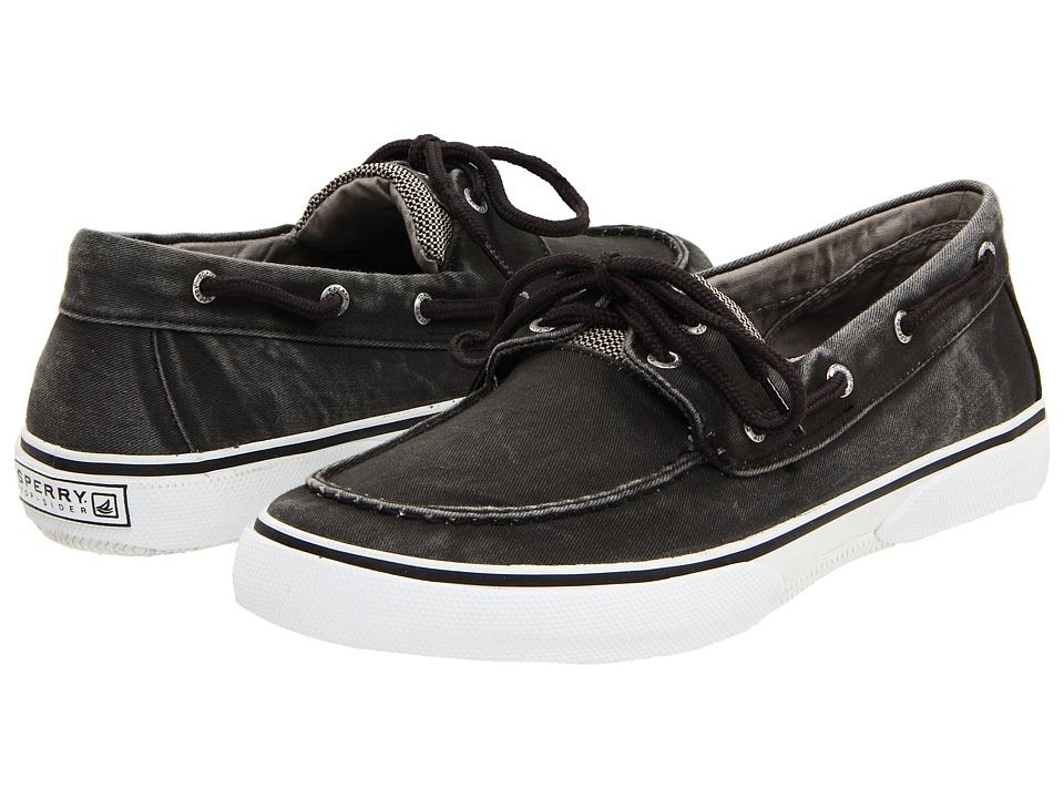Sperry - Halyard 2-Eye (Salt Washed Black) Men's Lace Up Moc Toe Shoes