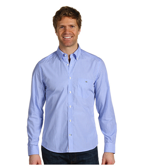 Lacoste - Long Sleeve Classic Poplin Gingham Check Shirt (Sky Blue/White/Sky Blue) Men