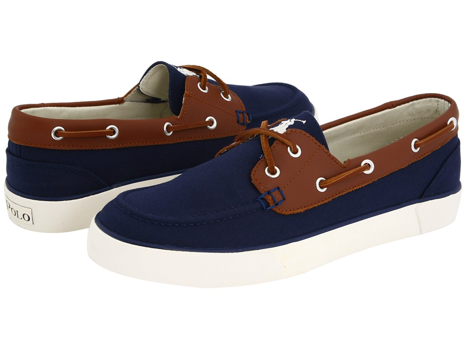 Polo Ralph Lauren - Rylander Canvas/Leather (Navy/Tan/Cream) Men's Lace up casual Shoes