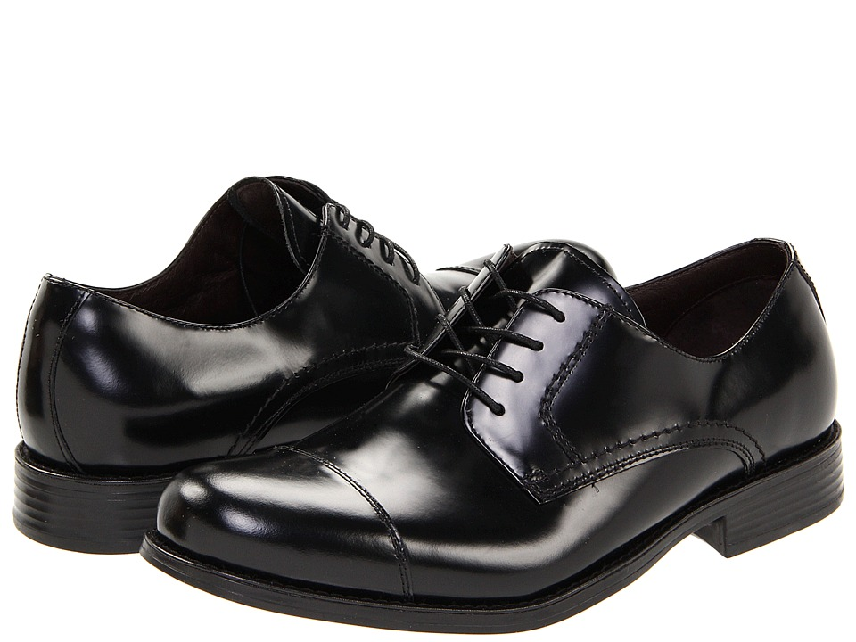 Johnston & Murphy - Atchison Cap Toe (Black Brushed Calf Skin) Men's Lace Up Cap Toe Shoes