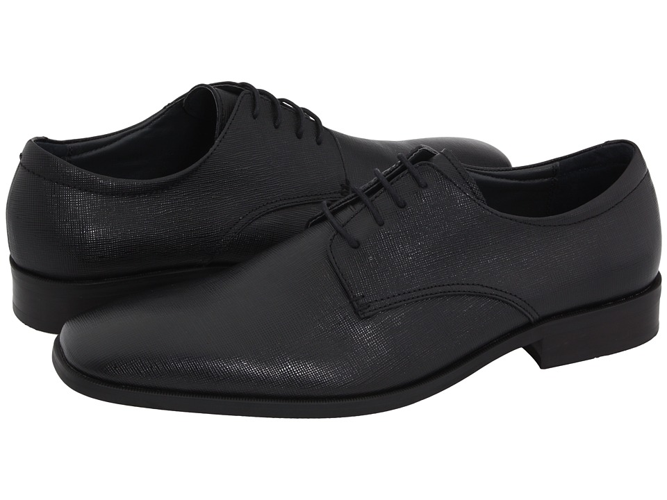 Calvin Klein - Gordan (Black Textured Dress Calf) Men's Dress Flat Shoes