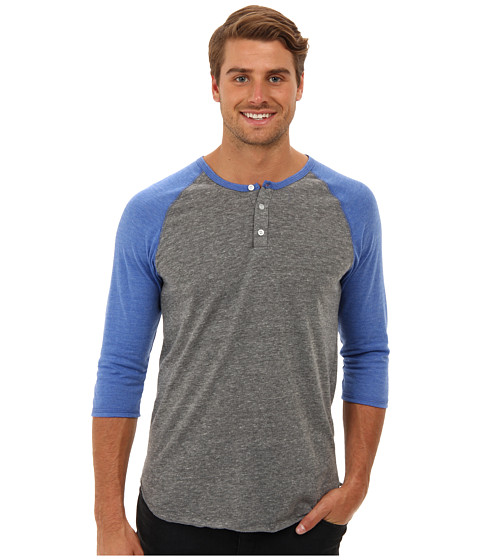 Alternative - 3/4 Raglan Henley (Eco Grey/Eco True Royal) Men