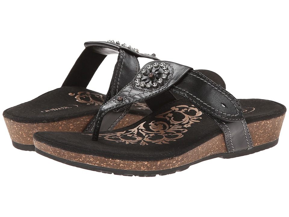 Aetrex - Emily Sandalistas - Lynco Footbed (Black) Women's Sandals