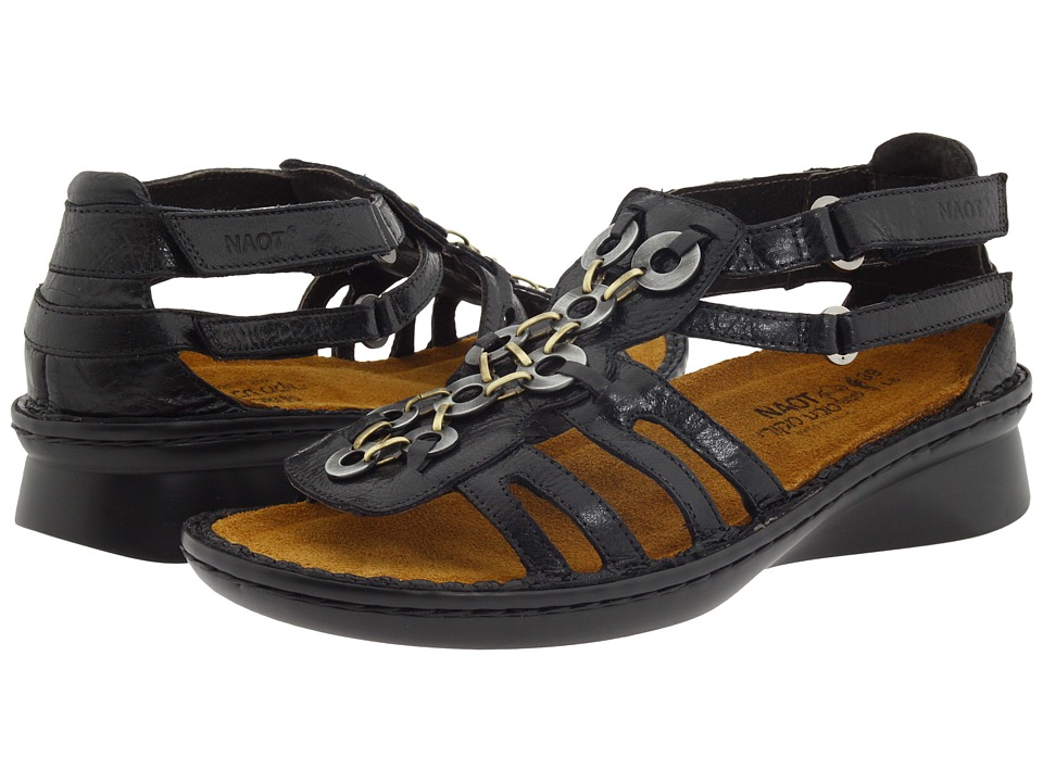 Naot Footwear - Trovador (Black Gloss Leather) Women's Sandals
