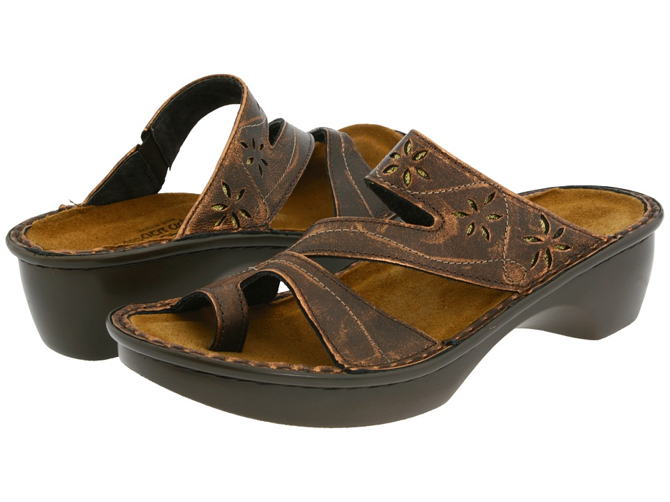 Naot Footwear - Montreal (Burnt Copper Leather) Women's Slide Shoes