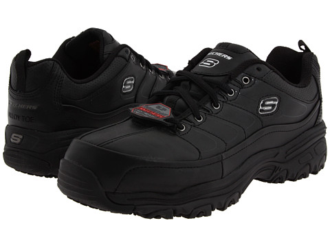SKECHERS Work - D'Lite SR Enchant - Safety Toe (Black/Black) Women's Work Boots