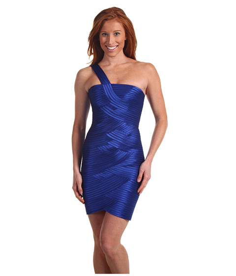 BCBGMAXAZRIA - One Shoulder Bandage Dress (Blue Sapphire) Women