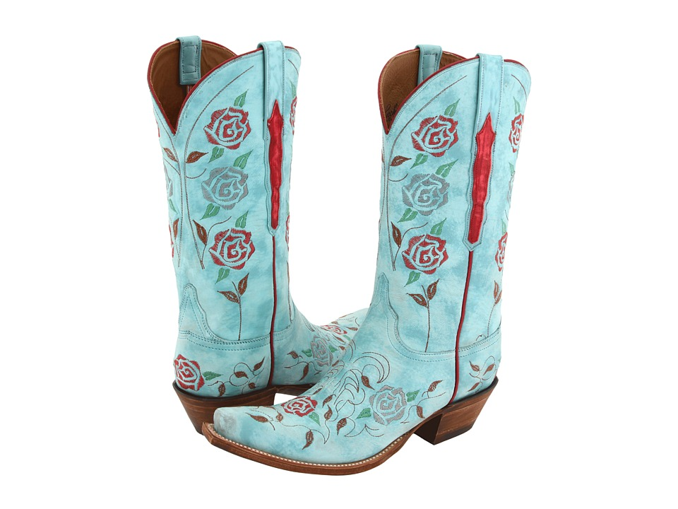 Lucchese L4685 (Destroyed Robins Egg Blue Goat) Cowboy Boots