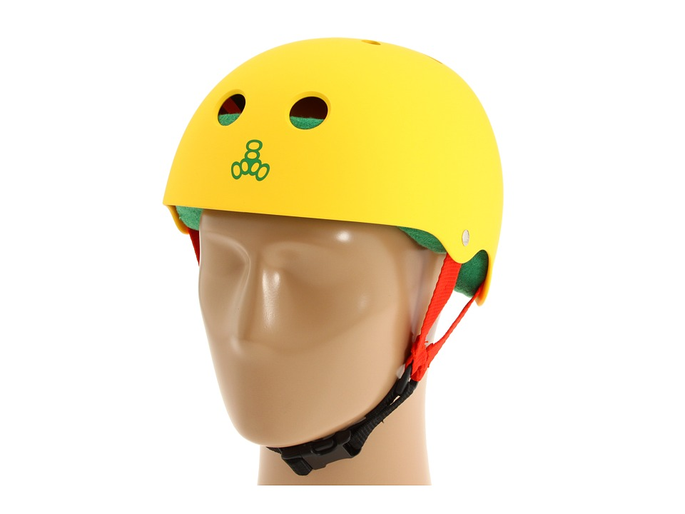 Triple Eight - Brainsaver Multi-Impact Helmet w/ Sweatsaver Liner (Rasta Yellow Rubber) Skateboard Helmet