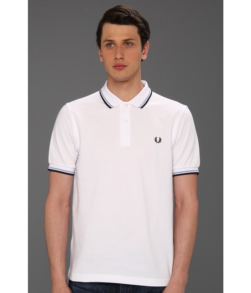 Fred Perry - Twin Tipped Shirt (White/Ice/Navy) Men's Short Sleeve Knit