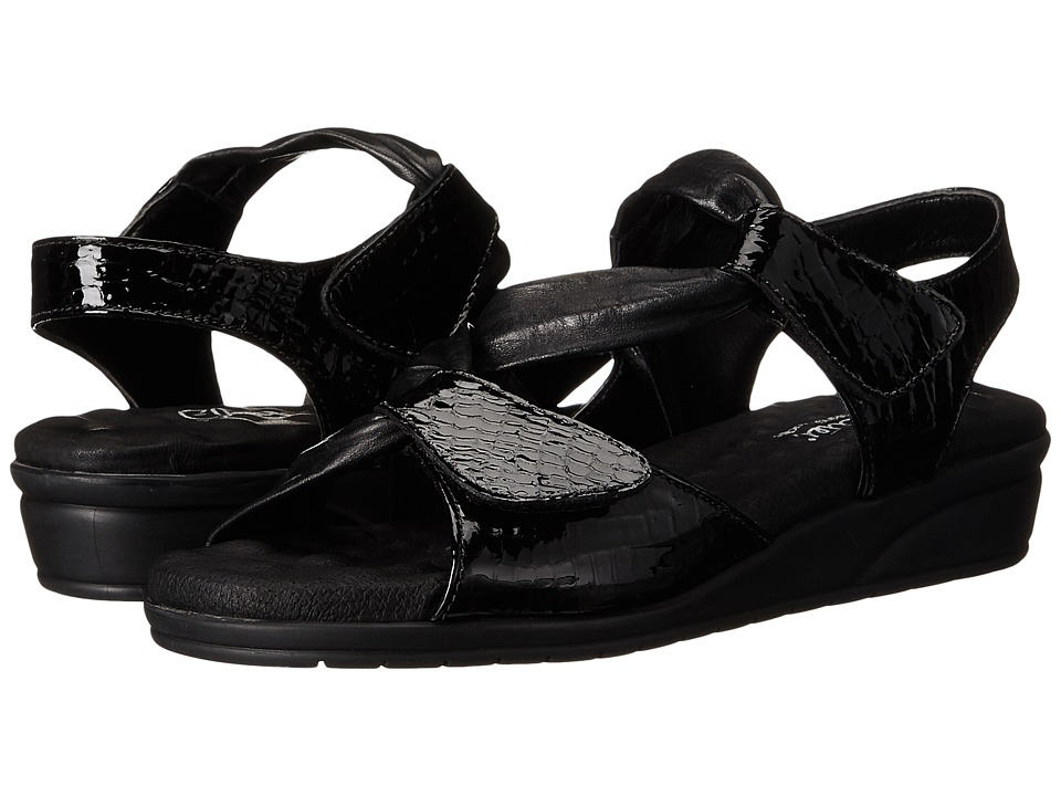 Walking Cradles - Valerie (Black Baby Gator Print Leather) Women's Sandals