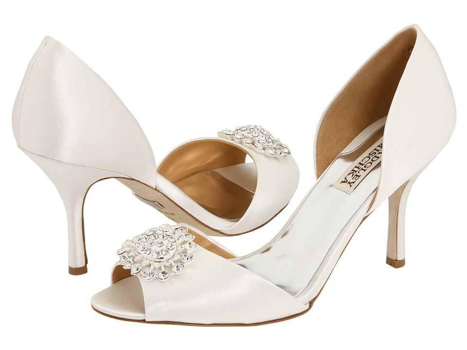 Badgley Mischka Lacie (White Satin) High Heels