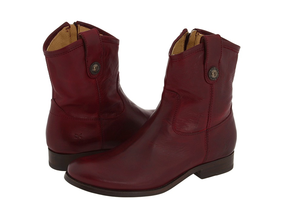 Frye - Melissa Button Short (Bordeaux Full-Grain Leather) Cowboy Boots