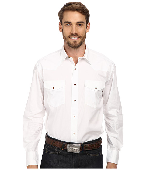 Roper - Solid Poplin L/S Shirt (White) Men's Long Sleeve Button Up