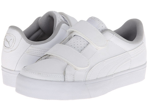 Puma Kids - Court Point V (Toddler/Little Kid/Big Kid) (White/White/Grey Violet) Kids Shoes