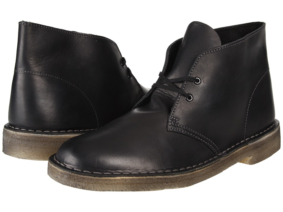 Clarks - Desert Boot (Black Soft Leather) Men's Lace-up Boots
