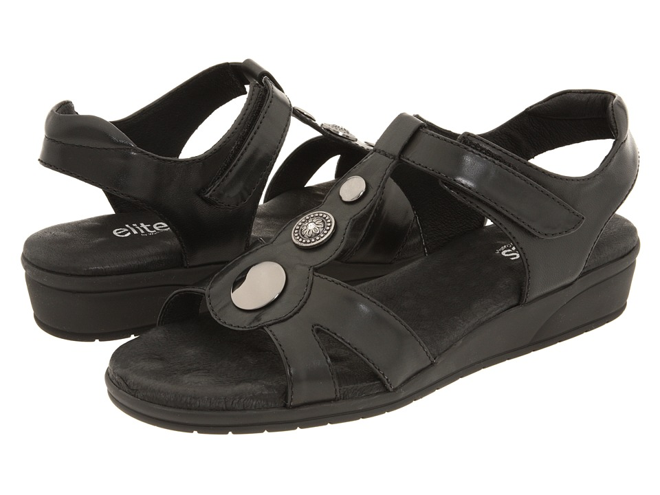 Walking Cradles - Venice (Black Leather) Women's Sandals