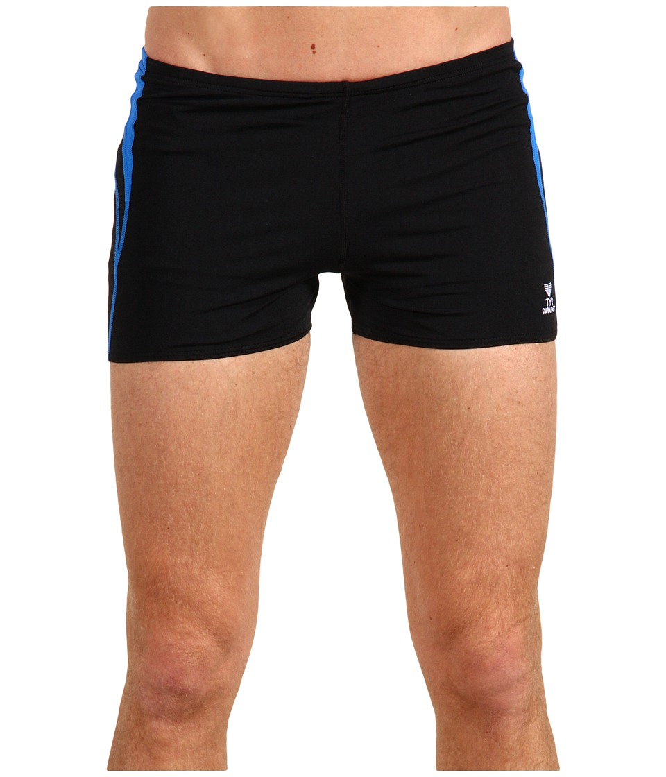 TYR - Alliance Durafast Splice Square Leg (Black/Blue) Men's Swimwear