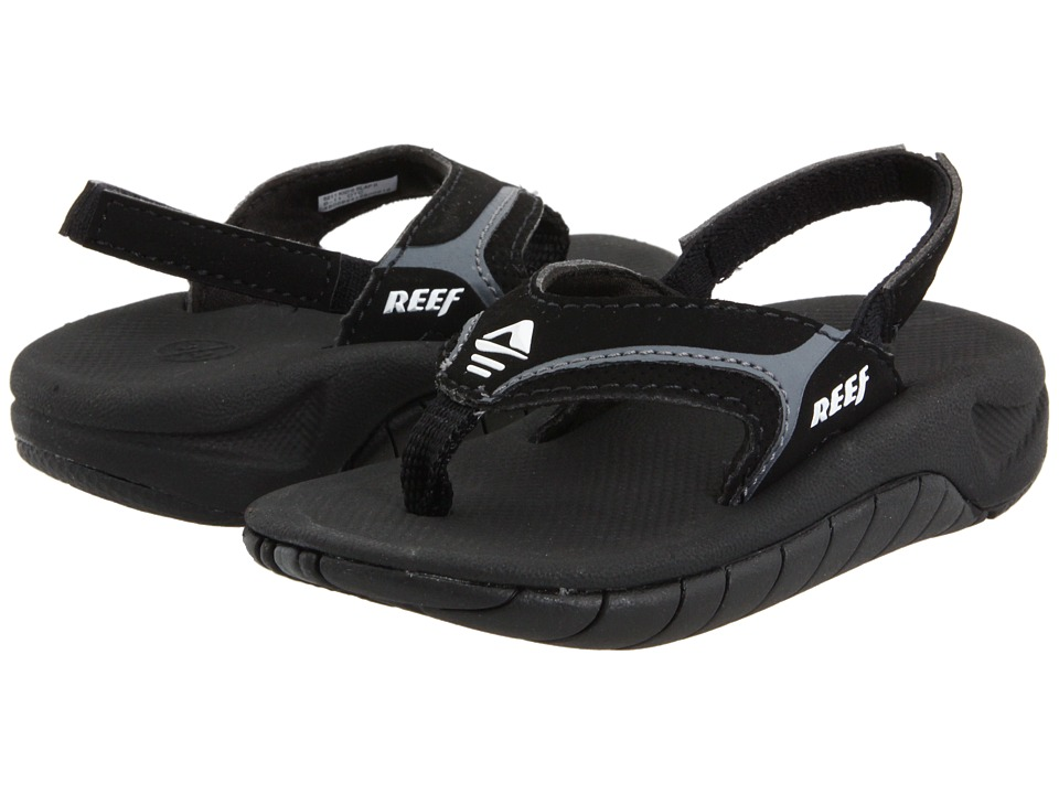 Reef Kids - Slap II (Infant/Toddler/Little Kid/Big Kid) (Black/Flash Grey) Boys Shoes