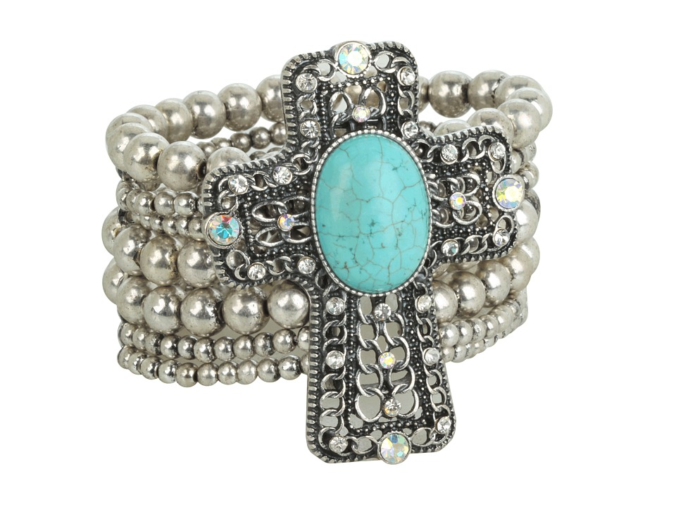 M&F Western - Western Charm Cross W/Turquoise Stone And Crystals Bracelet (Silver) Bracelet