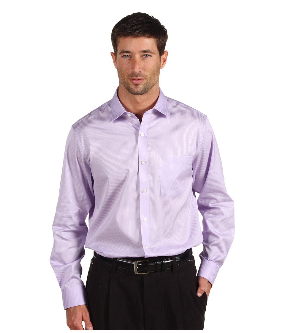 Michael Kors Collection Modern Twill Cotton Shirt Mens Long Sleeve Button Up (Purple)