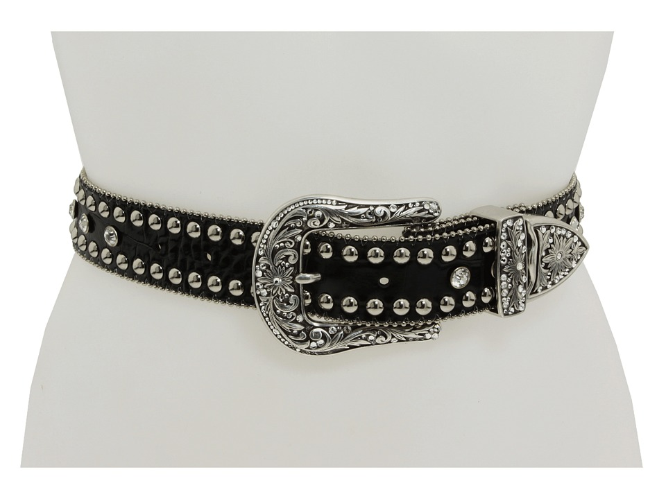 M&F Western - Black Croc Rhinestone (Black) Women's Belts