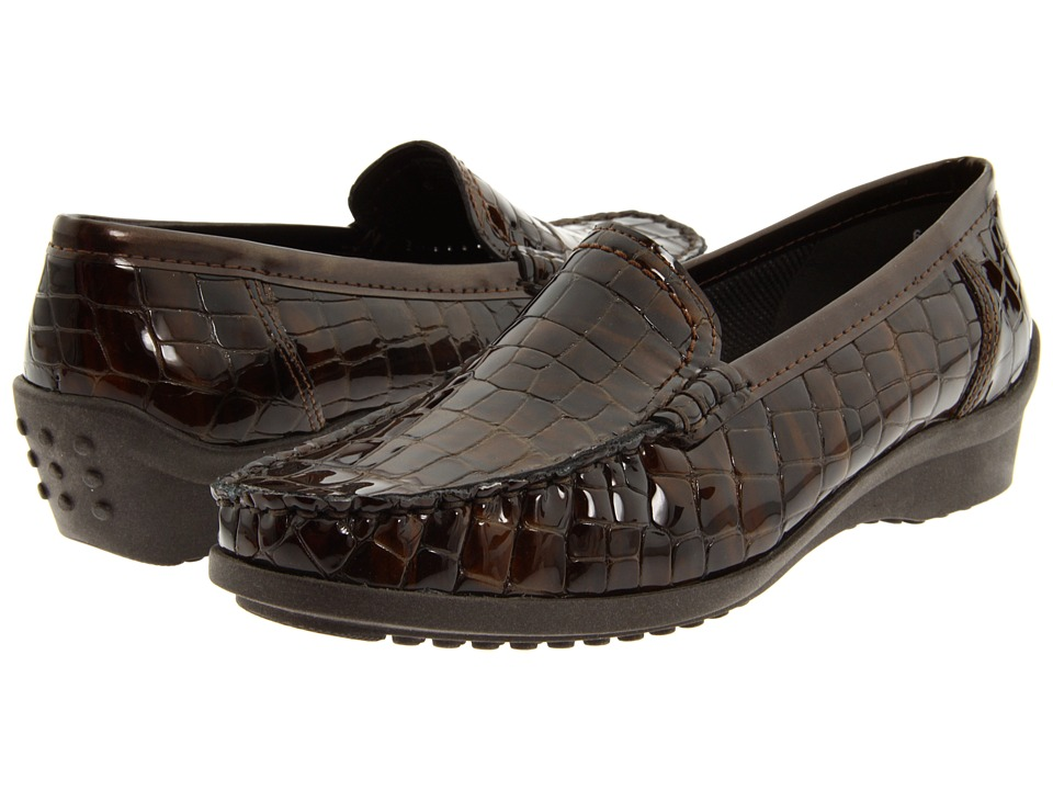 ara - Phoebe (Brown Croco Patent) Women's Slip on Shoes