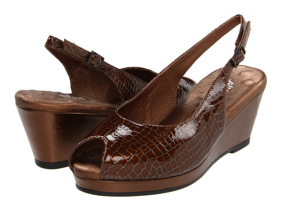 Walking Cradles - Natasha (Dark Copper Leather) Women's Wedge Shoes