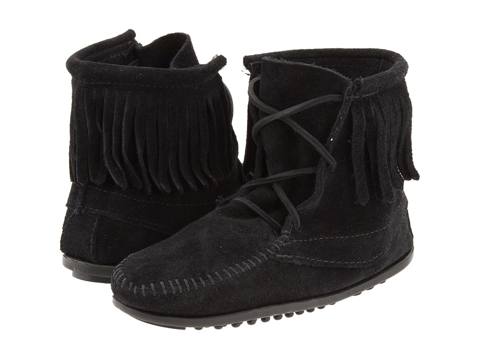 Minnetonka Kids - Ankle Hi Tramper Boot (Toddler/Little Kid/Big Kid) (Black Suede) Girls Shoes