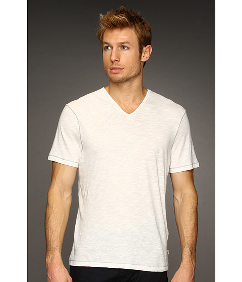 John Varvatos Star U.S.A. - S/S Slub V-Neck Tee K677K2B (Salt) Men's T Shirt