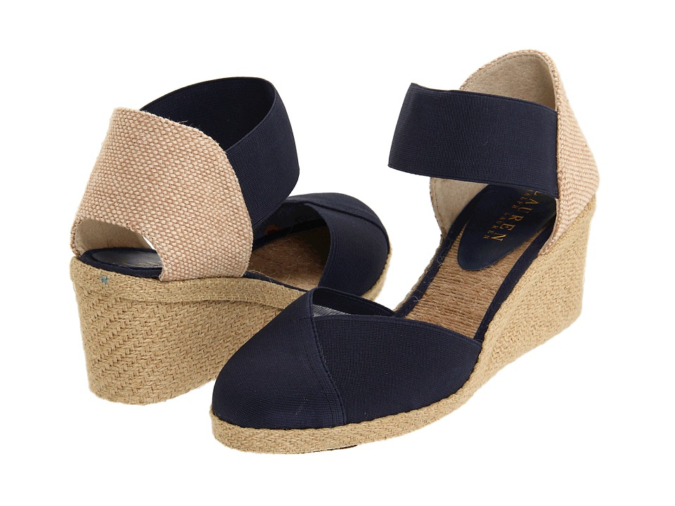 LAUREN Ralph Lauren - Charla (Navy) Women's Wedge Shoes
