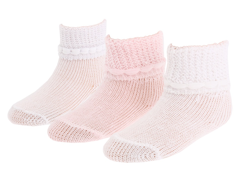 Jefferies Socks - 12 Pair Bootie Set (Infant/Toddler) (White/White/Baby Pink) Girls Shoes