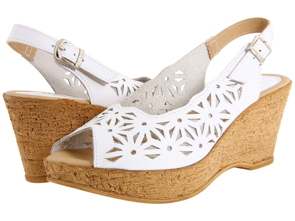 Spring Step - Abigail (White Leather) Women's Wedge Shoes