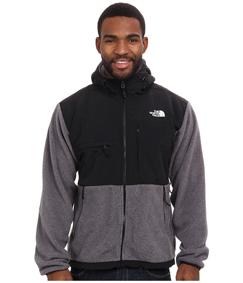 The North Face - Denali Hoodie (R Charcoal Grey Heather/TNF Black) Men's Coat