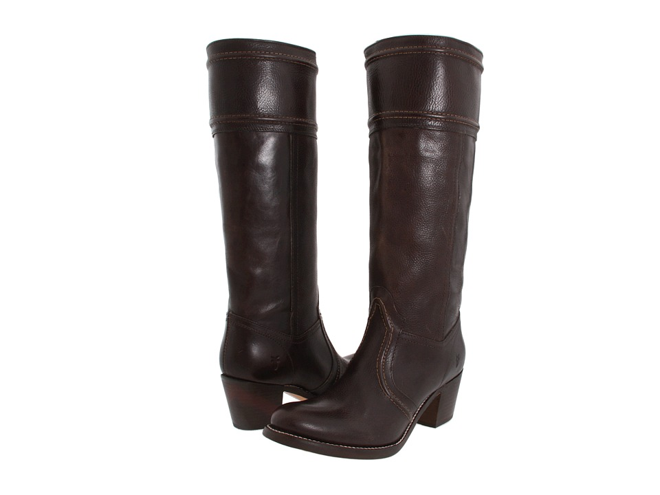 Frye Jane 14L Stitch Dark Brown Antique Full Grain Leather Cowboy Boots